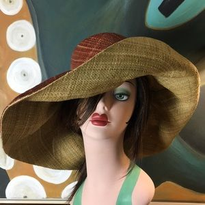 Accessories - NWT Handmade Raffia Wide Brim Sun Hat